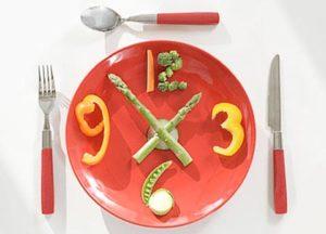 часы из тарелки и овощей